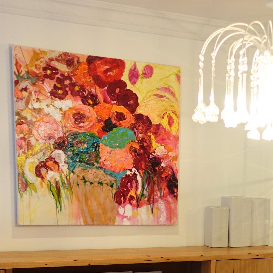 Red, pink, orange, yellow flower painting