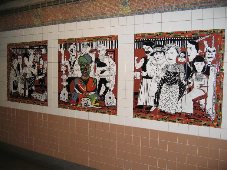 Public Mosaics by Lee Brozgol seen at Christopher St Station, New York - The Greenwich Village Murals