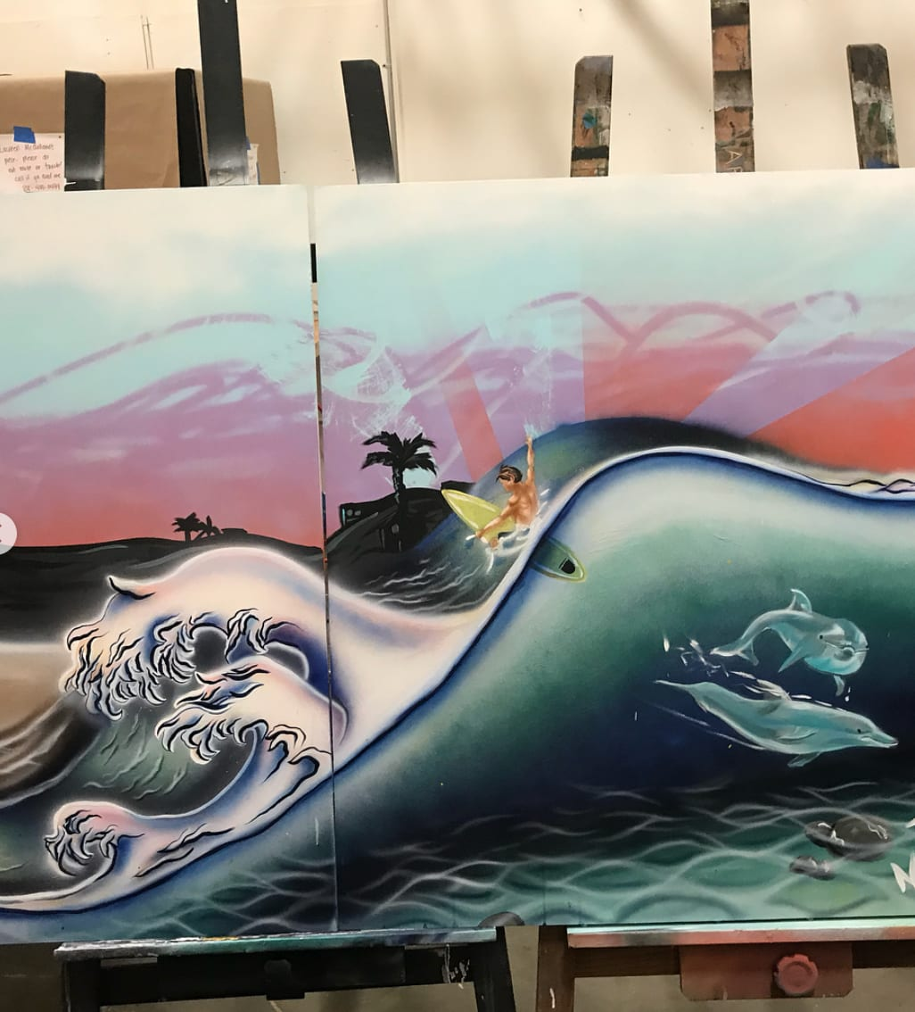 Street Murals by Elliot Trent Thompson seen at Good Stuff Restaurant, Hermosa Beach - Good Stuff Mural