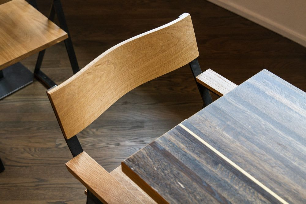 Chairs by Art Builders Guild seen at Huckleberry Roasters, Denver - Huck Chair