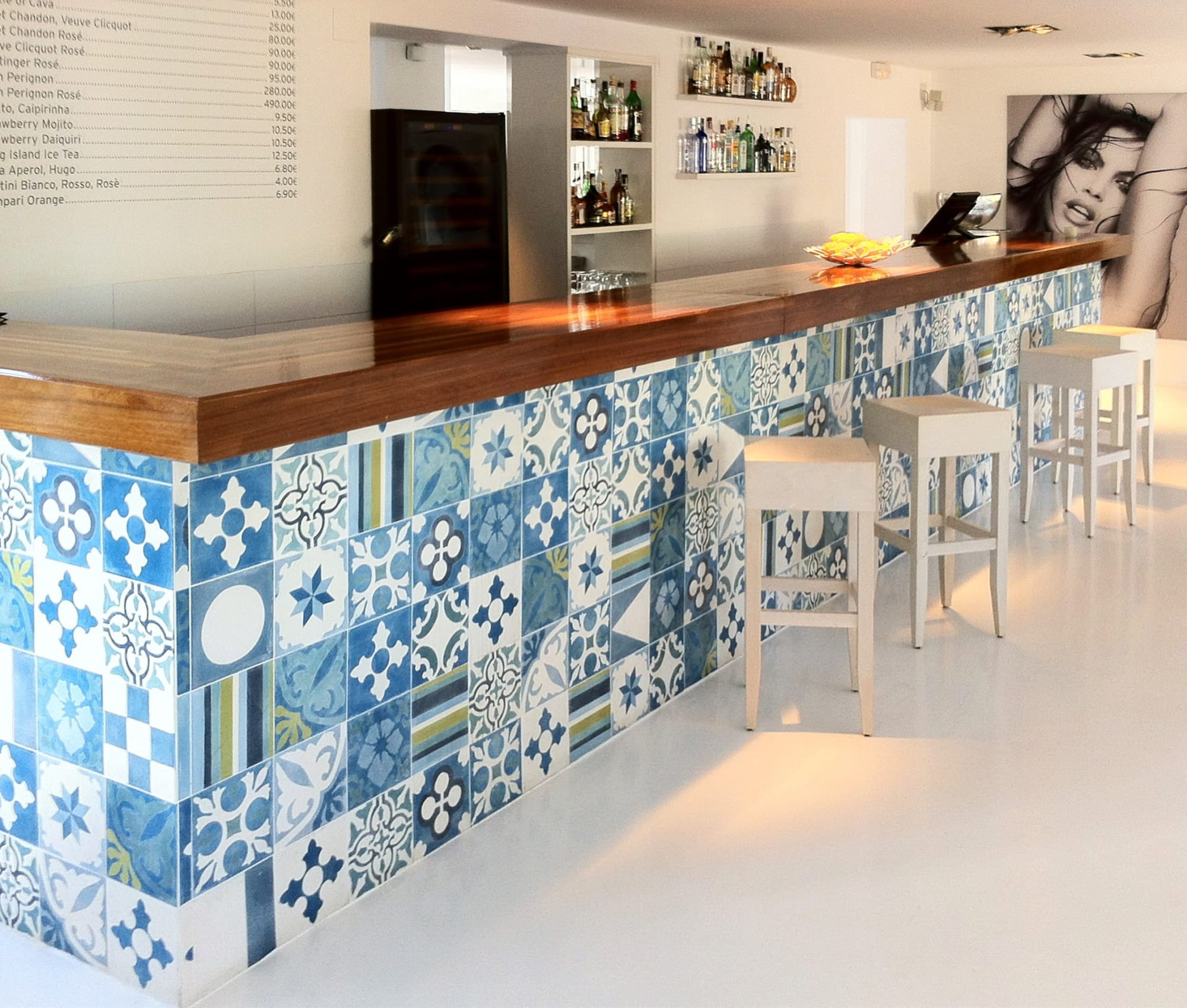 custom blue and white tile