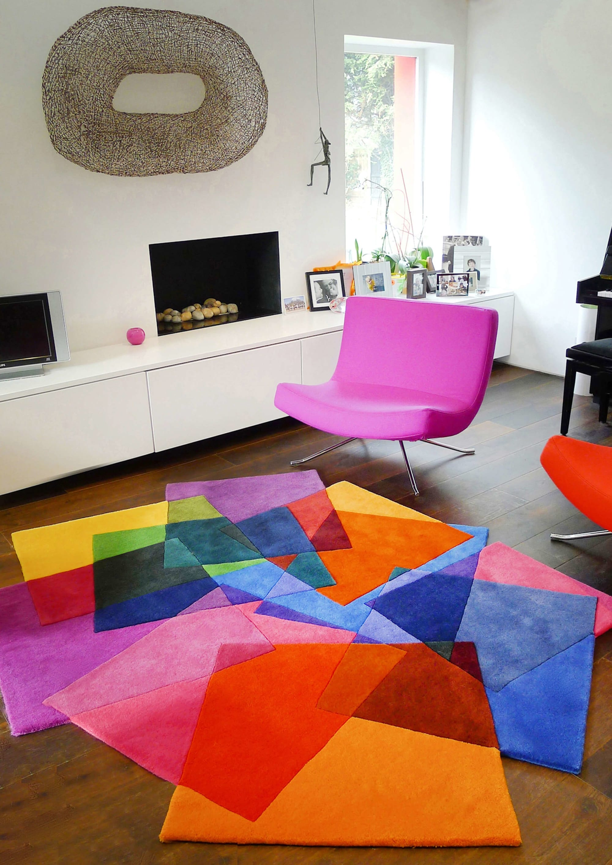 Overlapping Multi Colored Squares Rug