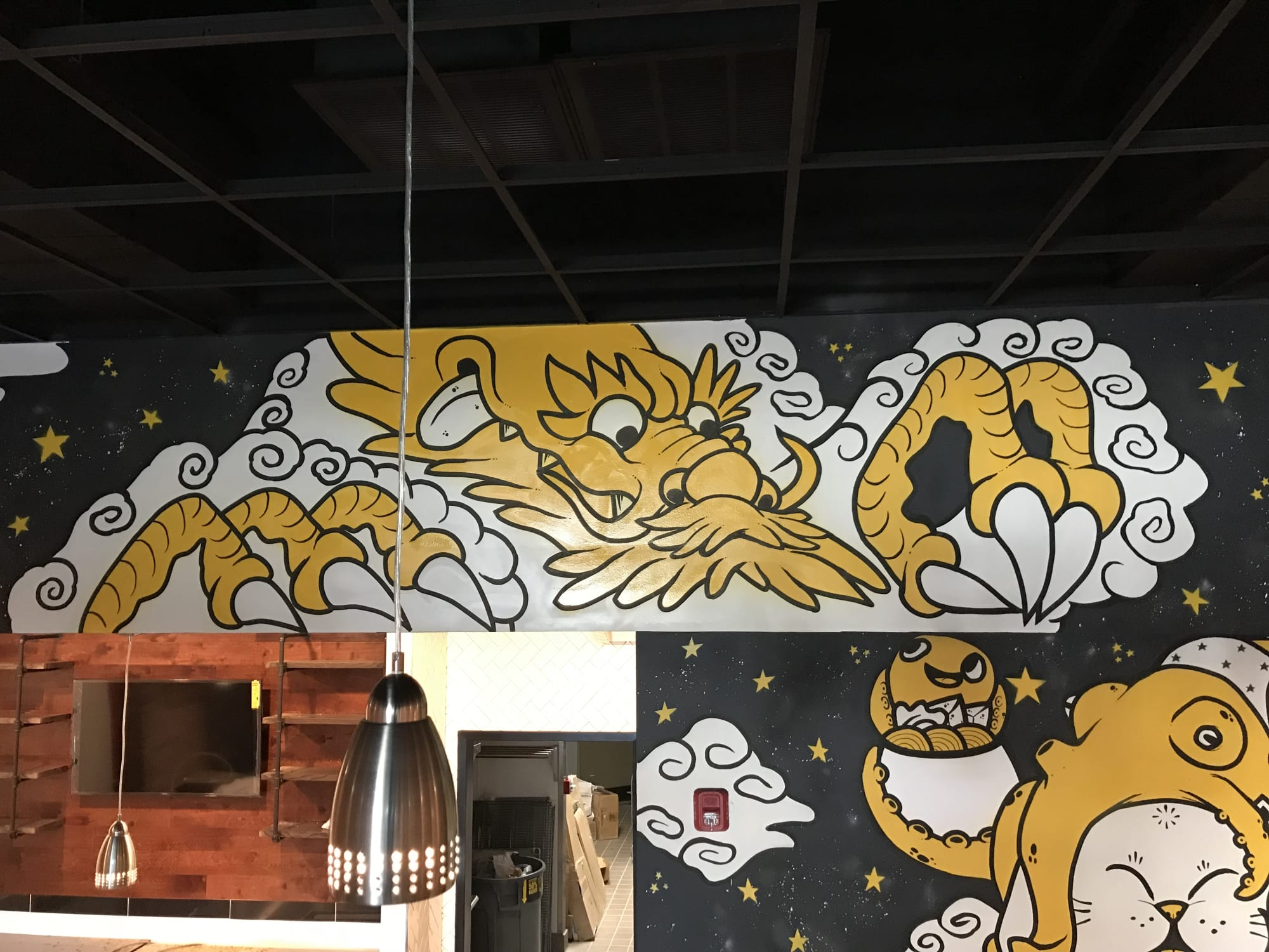 Murals by Golden Rabbit Silent Monkey seen at Little Dipper Hot Pot House, Fairfax - Food Offering for the Heavenly Dragon