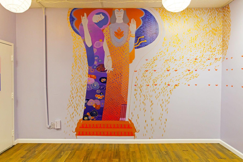Murals by Emily Herr (HerrSuite) seen at Be Here Now Yoga Healing & Wellness, Washington - BHNY Hanuman