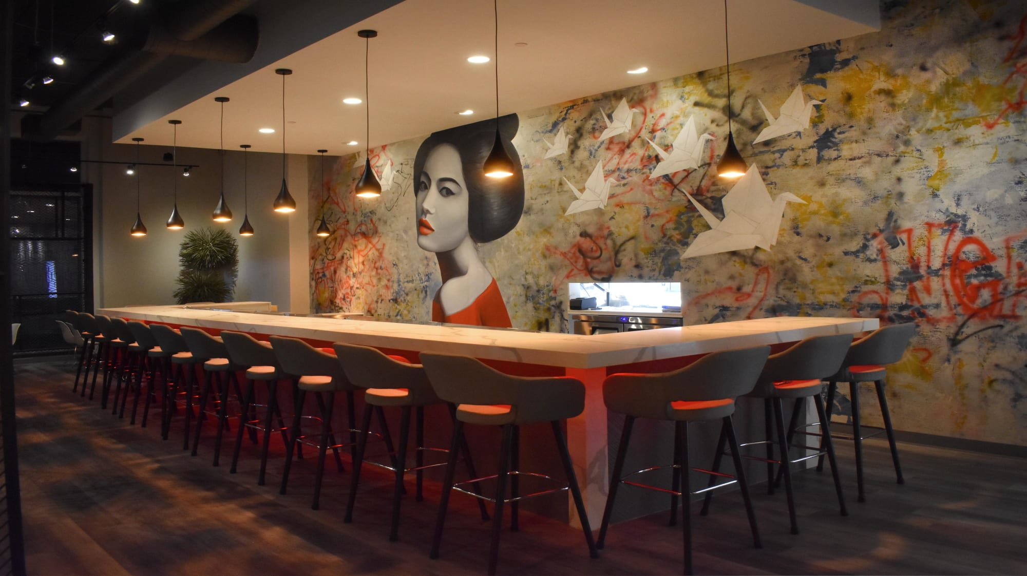 "Murals by Nicolette Atelier seen at YUME SUSHI, Arlington - ""Grit & Grace"""