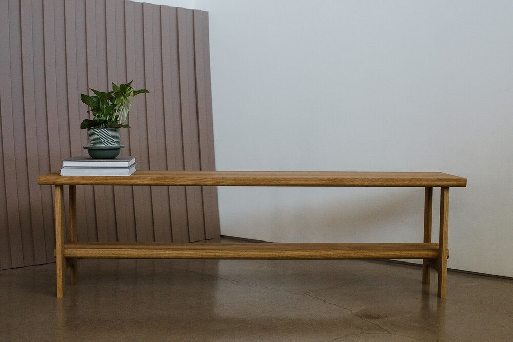 Natural light wood bench by Austin Creators