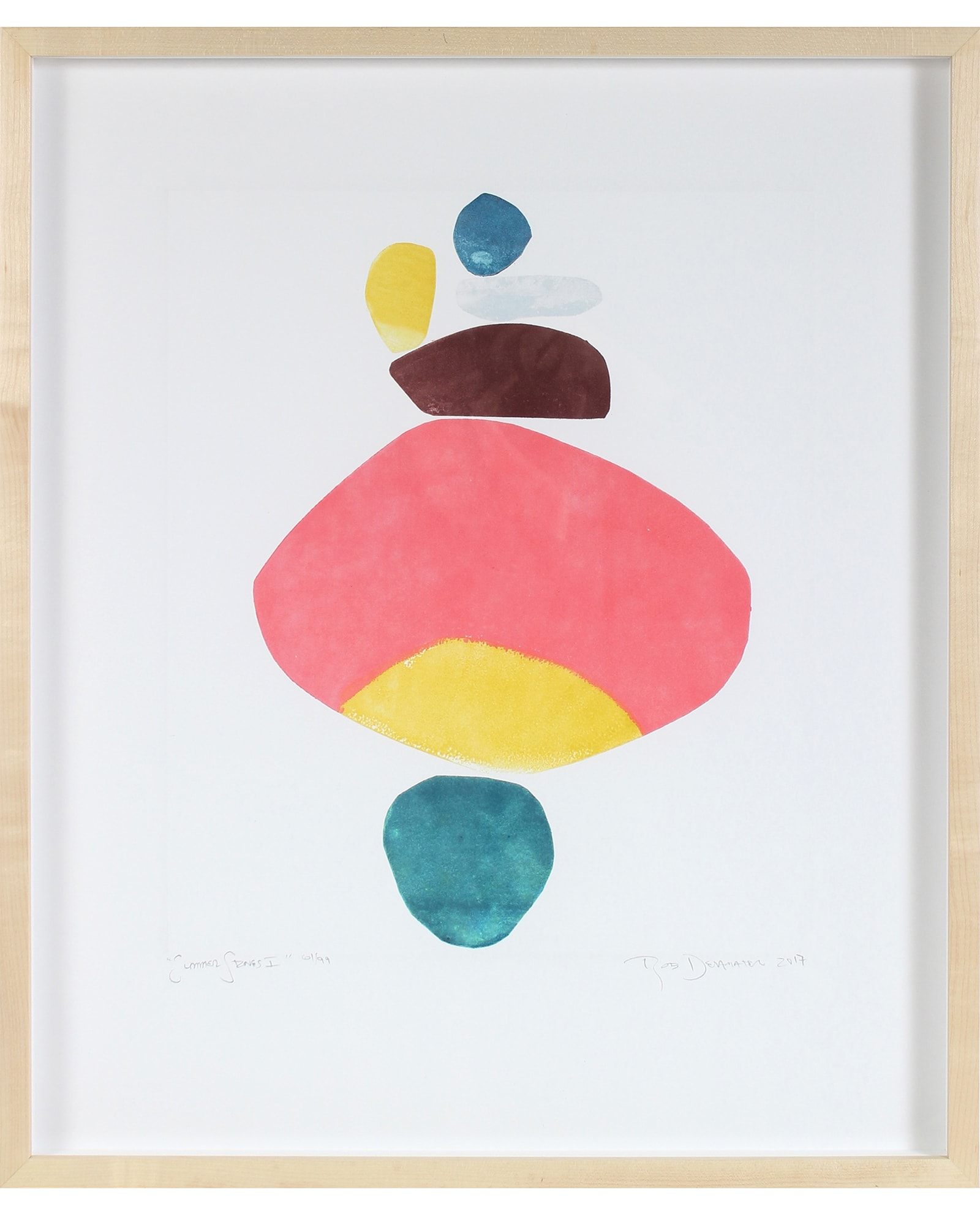 """Paintings by Rob Delamater seen at Homepolish Interior Design, New York - """"Summer Stones I, II, & III"""""""