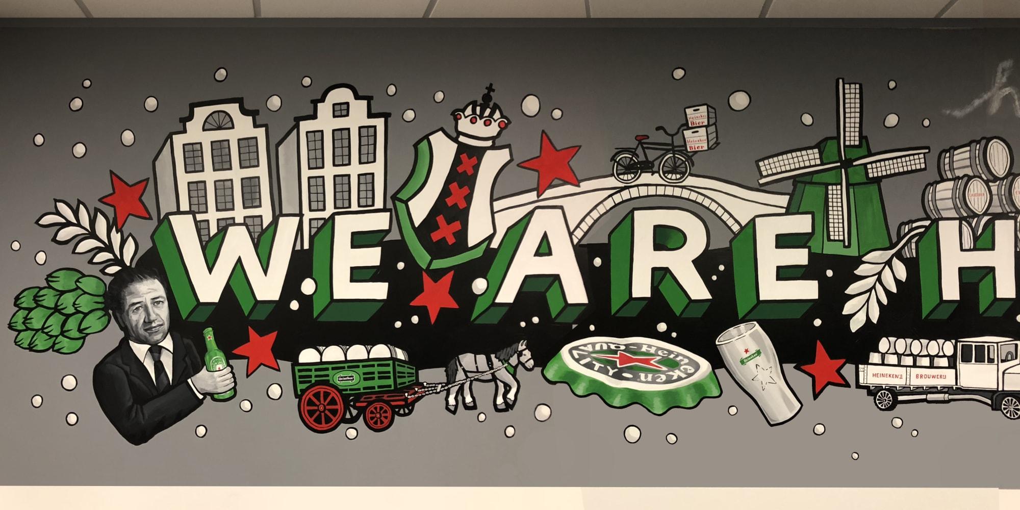 Murals by Mariel Pohlman at Urban towers, Irving - We Are Heineken Mural
