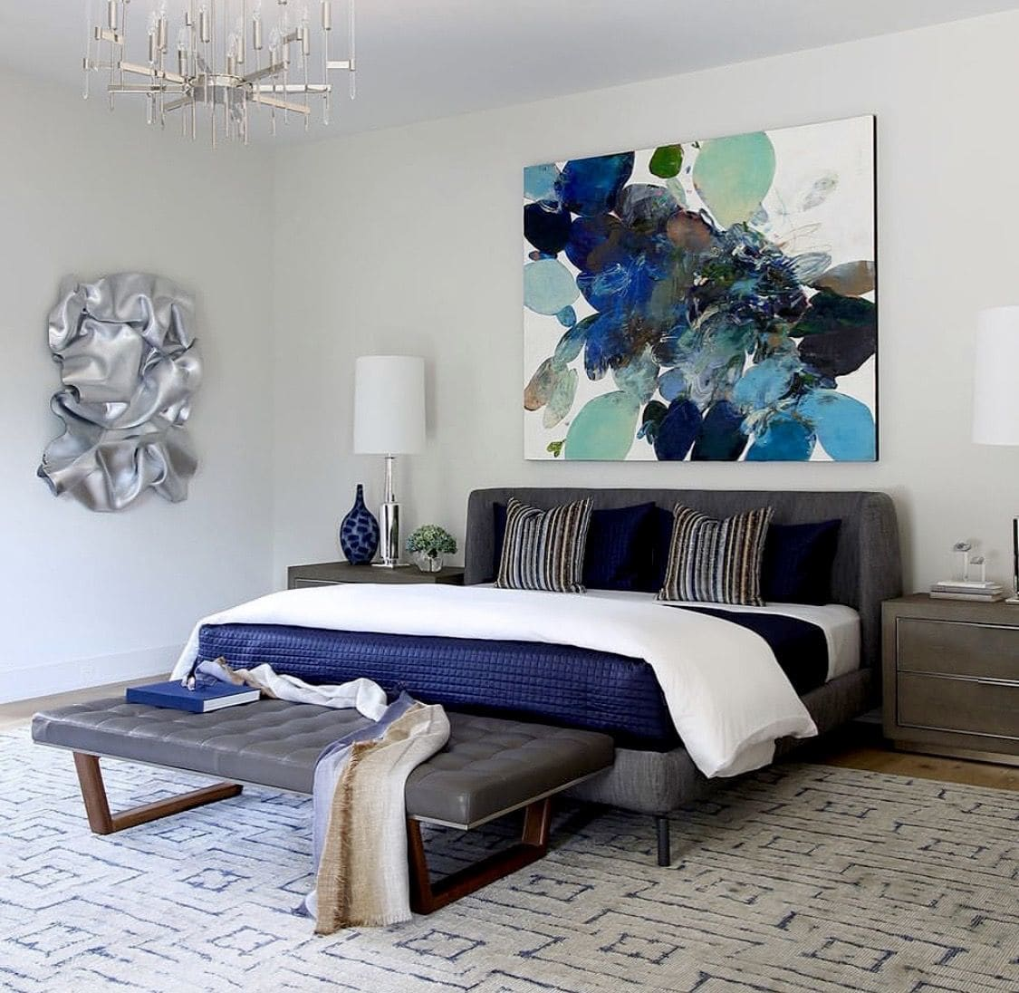 Abstract blues and greens painting in bedroom