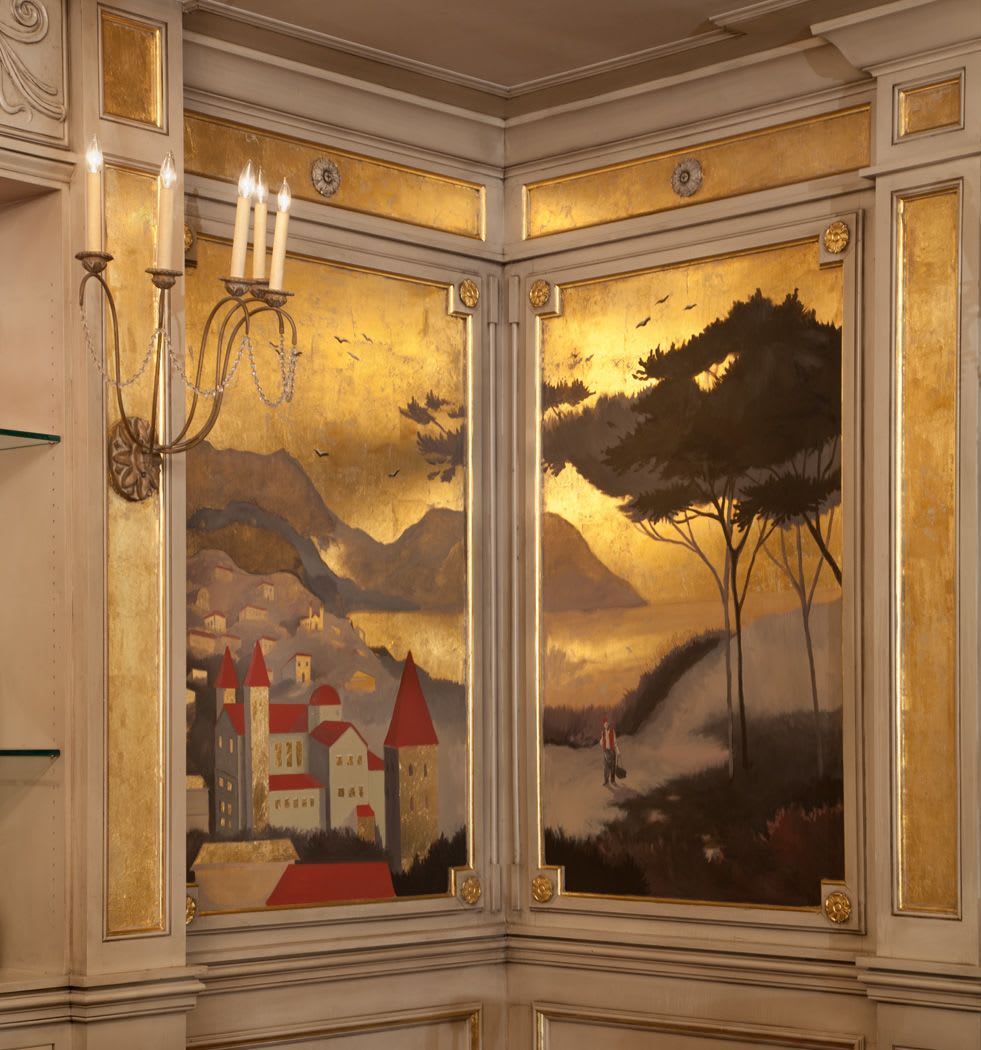 Murals by Nicolette Atelier seen at Taza Lebanese Grill Downtown, Cleveland - Gilded Panoramic Landscape Mural