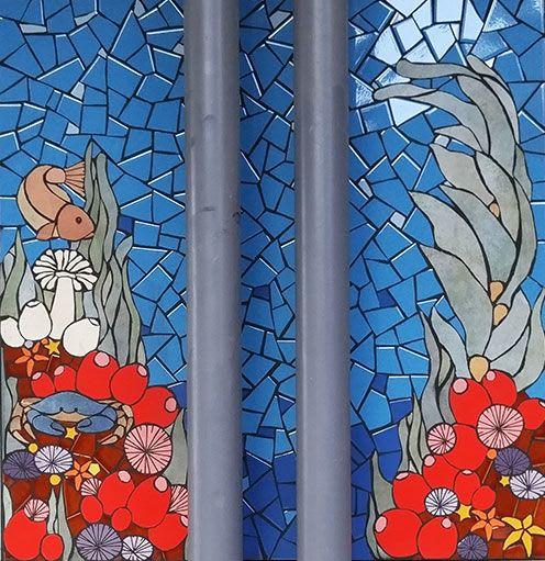 Public Mosaics by New World Mosaics seen at Montclair Elementary School, Oakland - Otters Delight