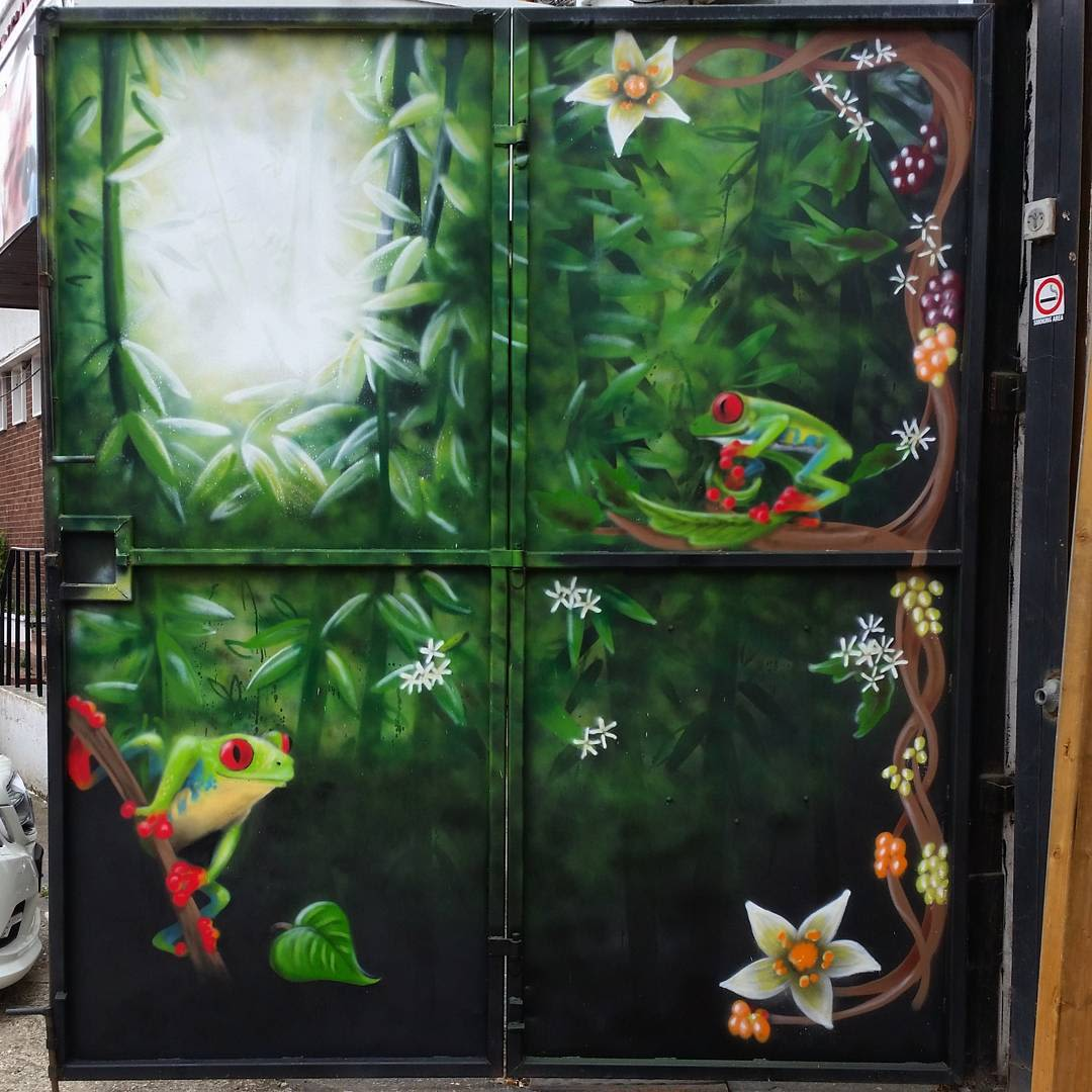 Frog and Rainforest painted door