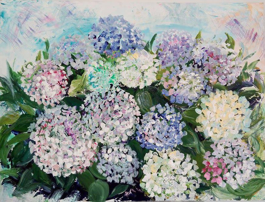 Purple, blue, white flower painting
