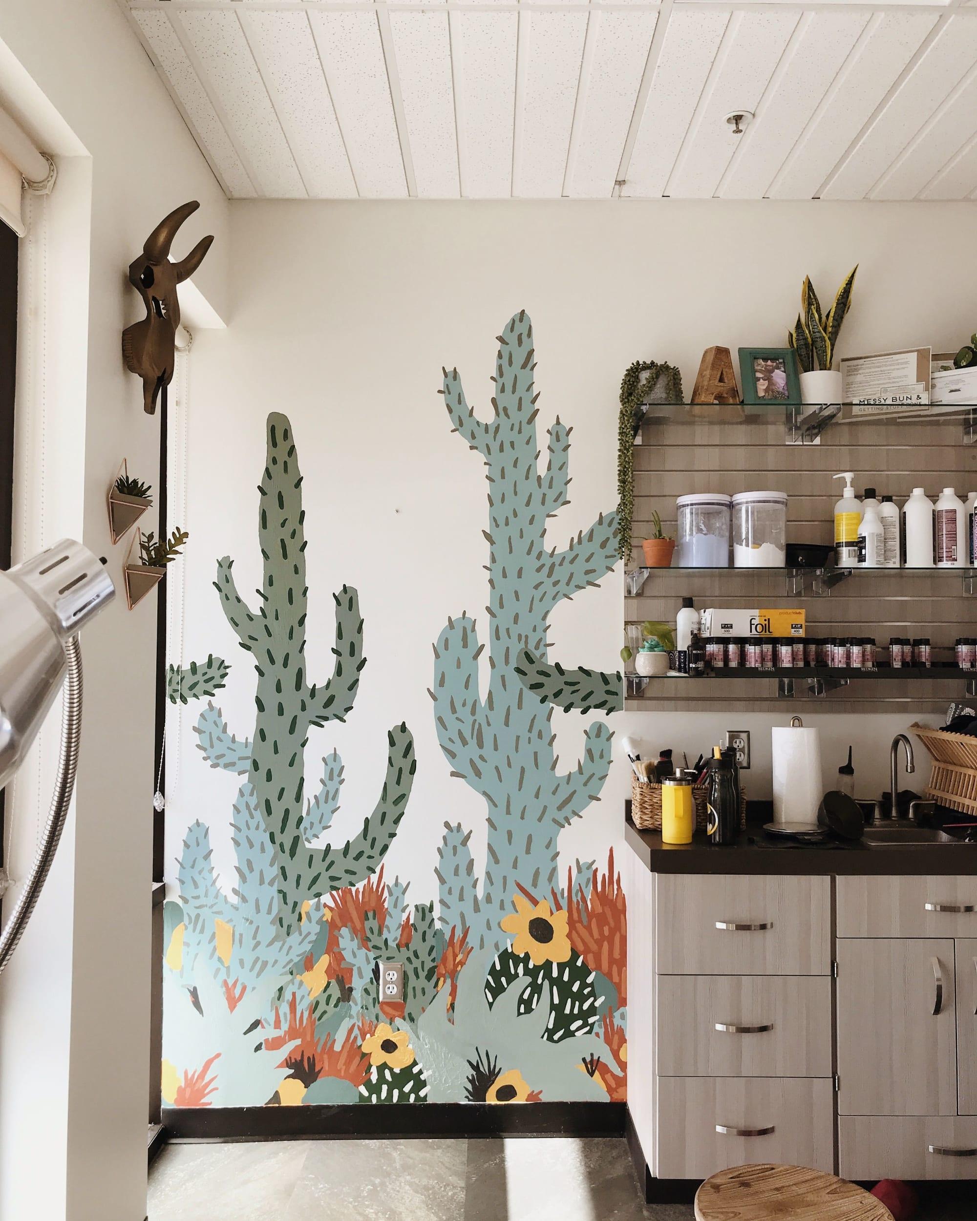 Desert Mural for Amberly Colina Salon Murals by The Small Creative, in Sola Salon Studios, Savannah, GA