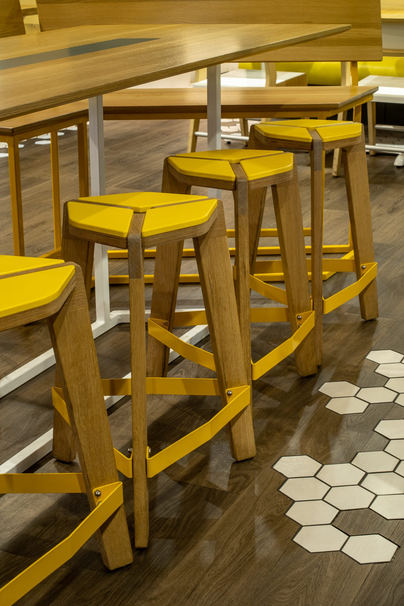 Chairs by Housefish seen at Birdcall - Evans, Denver - Birdcall Hex Stools, Tables, Architectural Features
