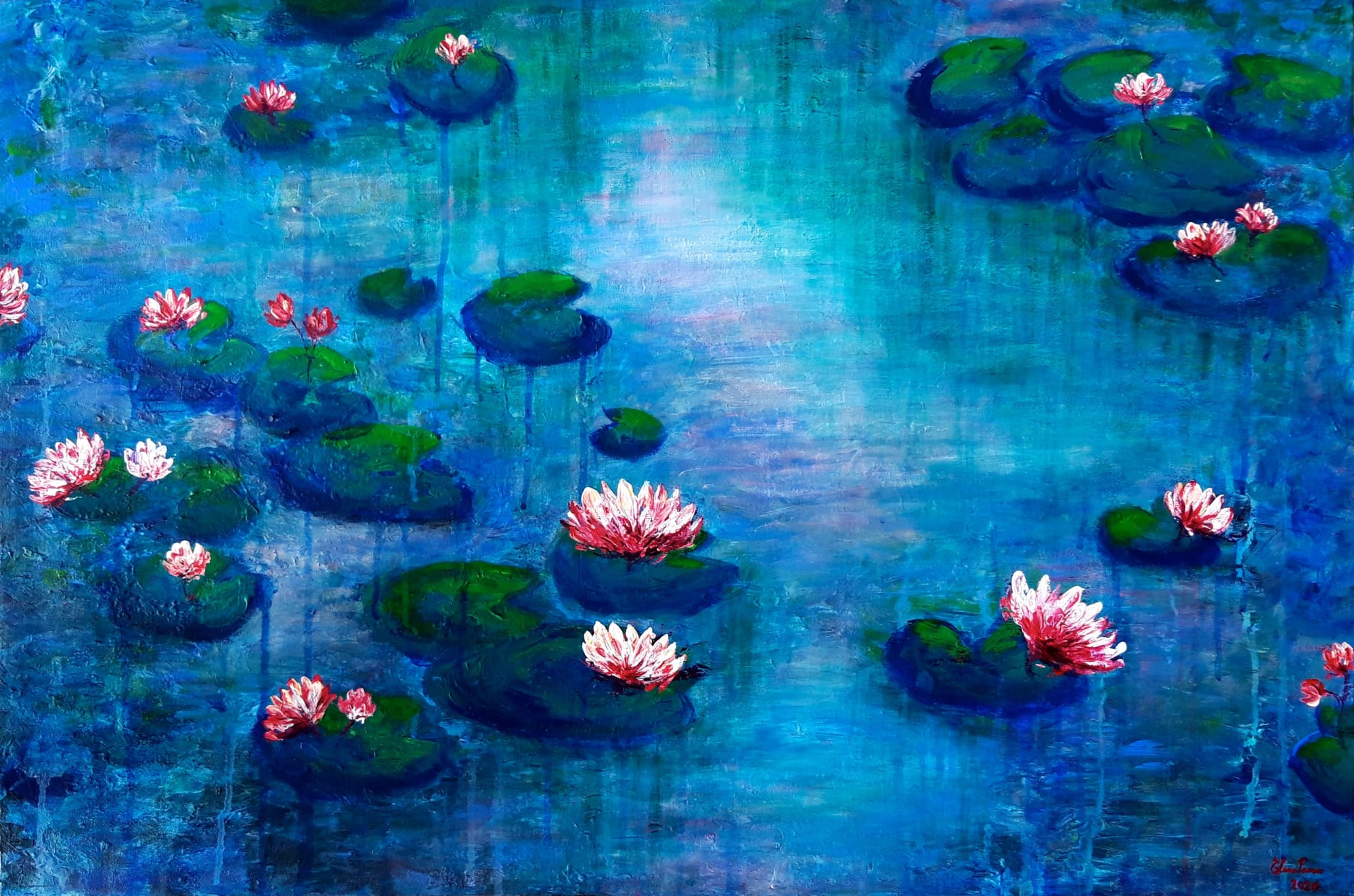 Blue water painting with pink waterlilies