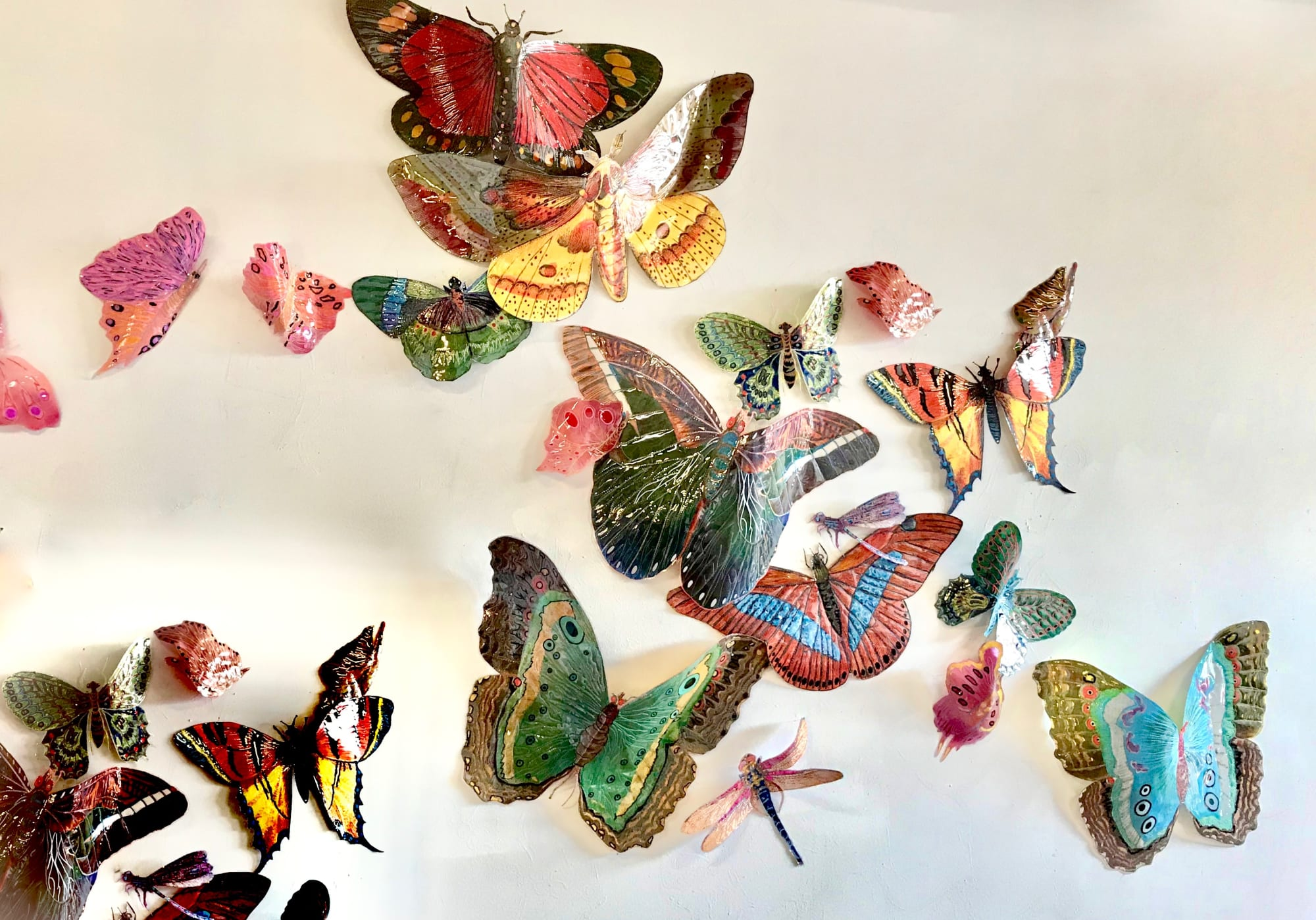 Multicolor butterfly wall sculptures