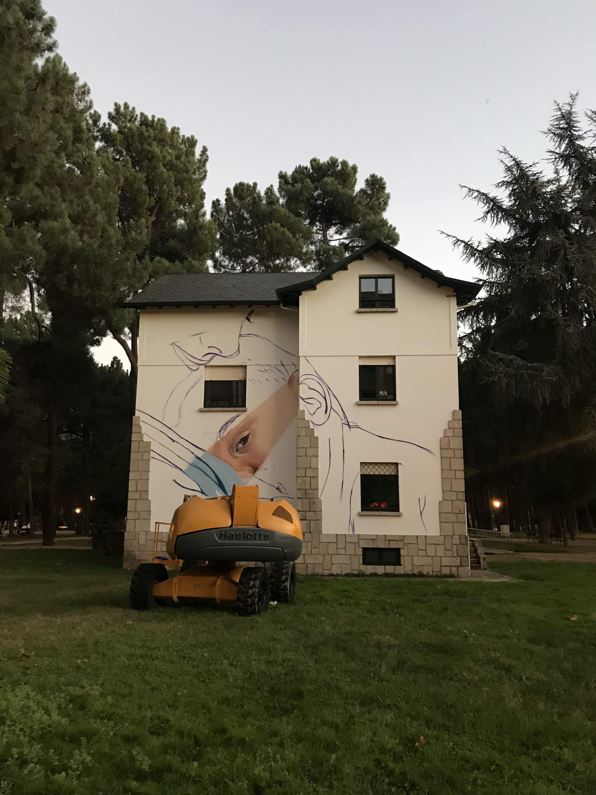 Street Murals by Asier Vera seen at Temple Park, Ponferrada, León - World breastfeeding day