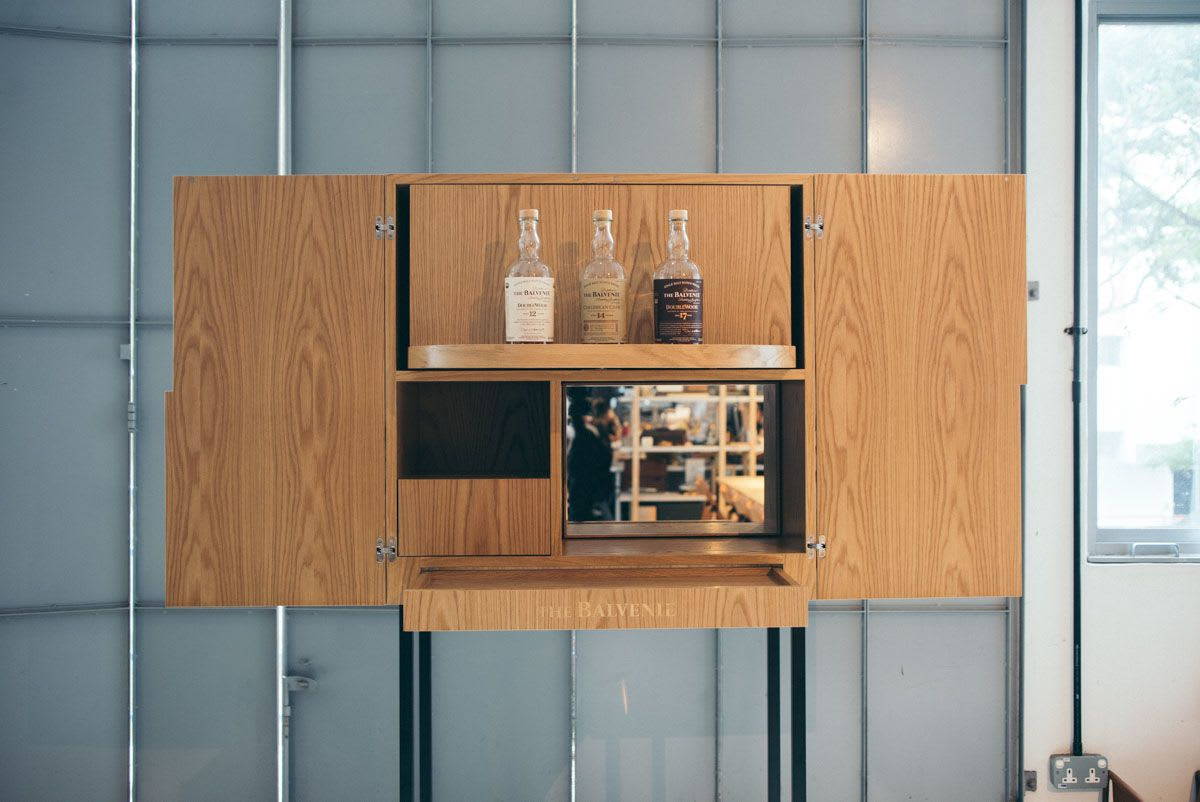 Custom natural wooden liquor cabinet