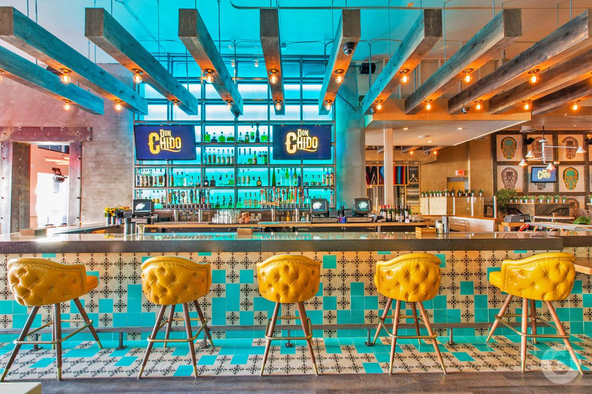Modern yellow bar stools