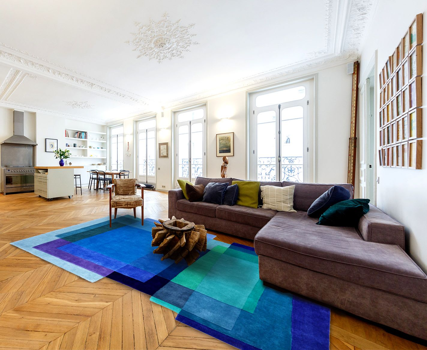Overlapping Rectangles Rug in Blue