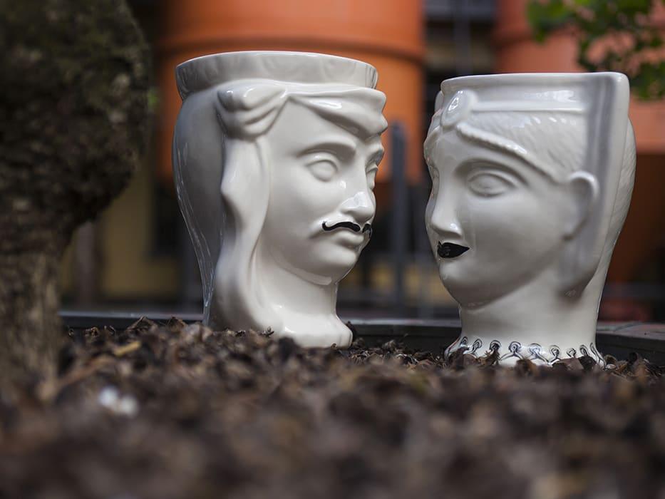 Porcelain Head Vase Man and Woman