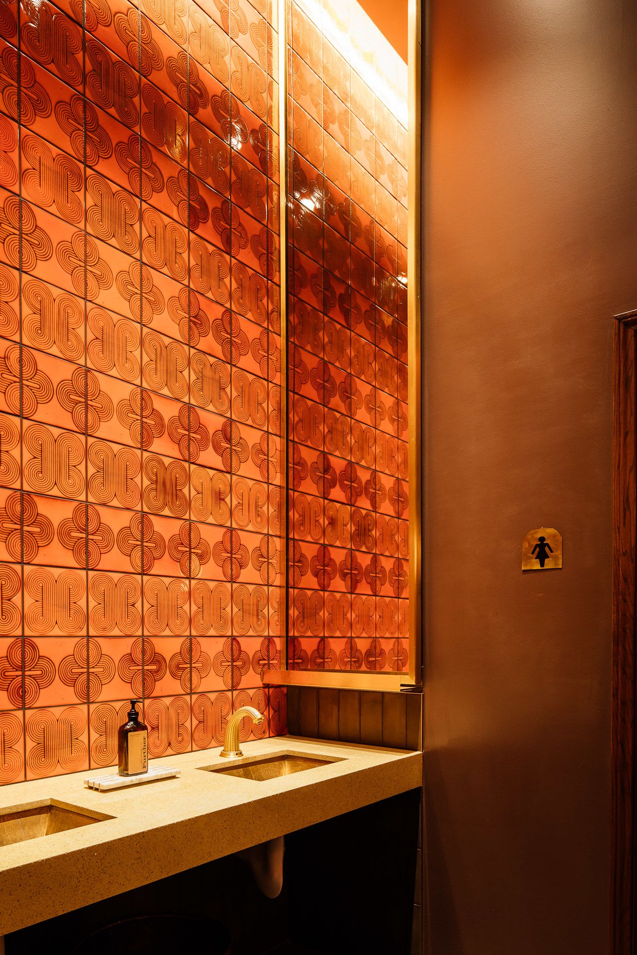 Disco Rectangle Ceramic Tile in Orange
