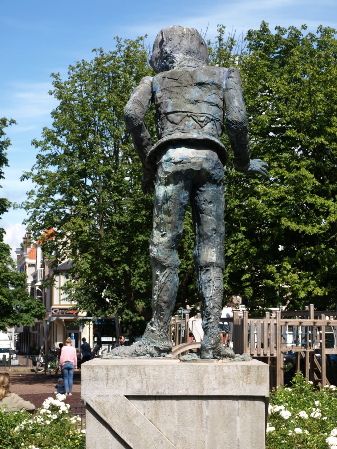 Public Sculptures by Folkert de Jong seen at Koningsplein, Amsterdam - 'The Player'