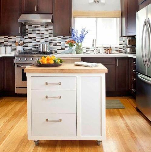 White island kitchen cabinet with natural wood