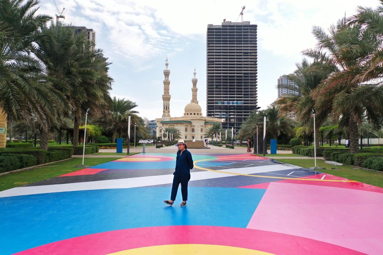 Multicolored bright street mural