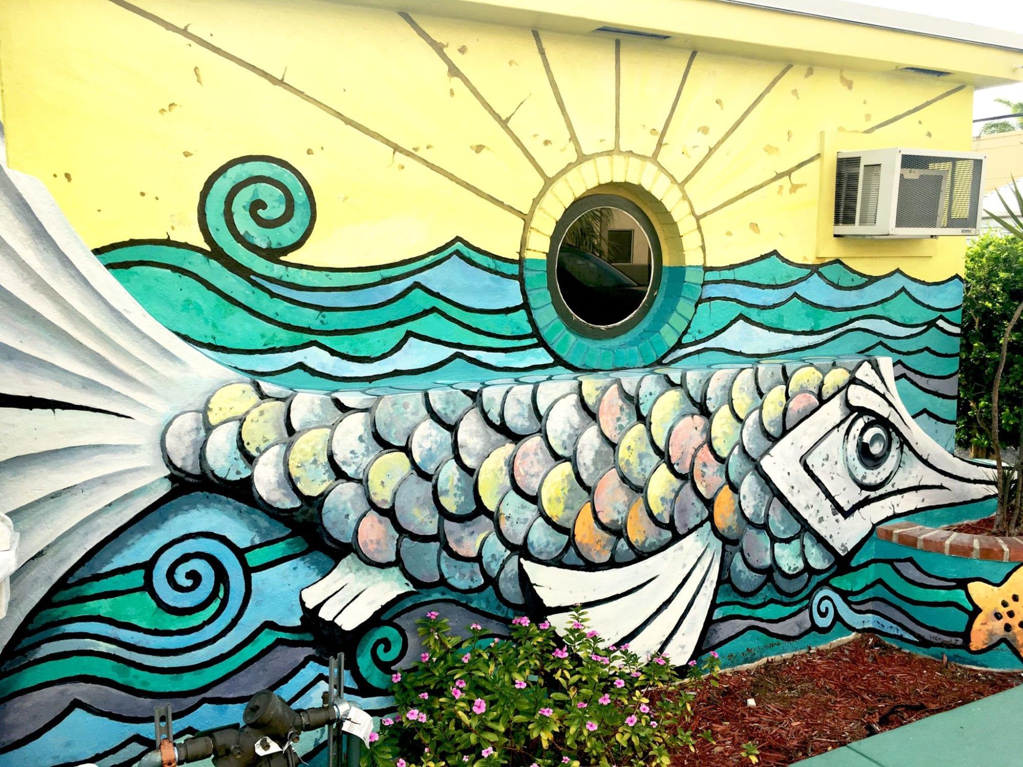 Murals by Murals by Georgeta (Fondos) seen at SASA Cafe Italiano, Hollywood - Fish Story Art Deco Mural
