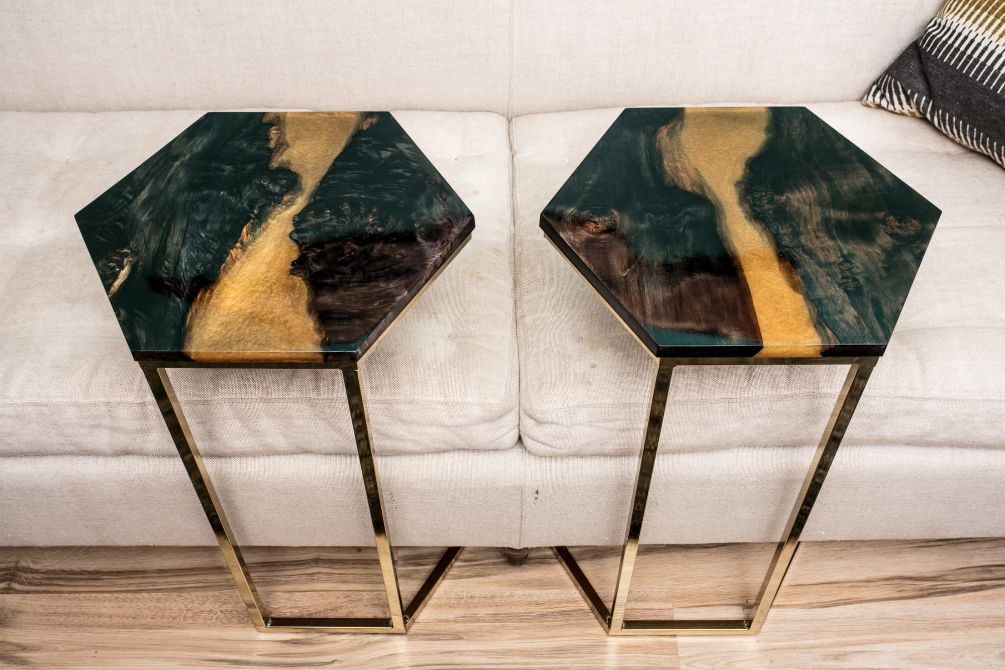 Black and gold hexagon end tables