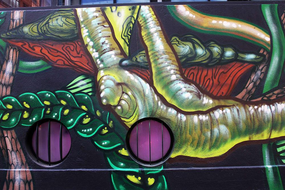 Murals by Amara Por Dios seen at Queen of Hoxton, London - Queen of Hoxton, Exterior