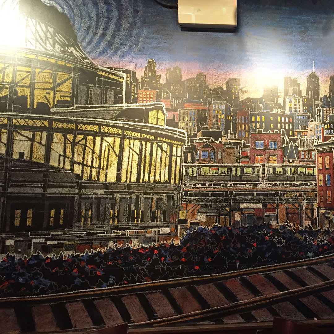 Murals by Mitchell Egly seen at The Other Side Bar, Chicago - Wrigley Field Mural