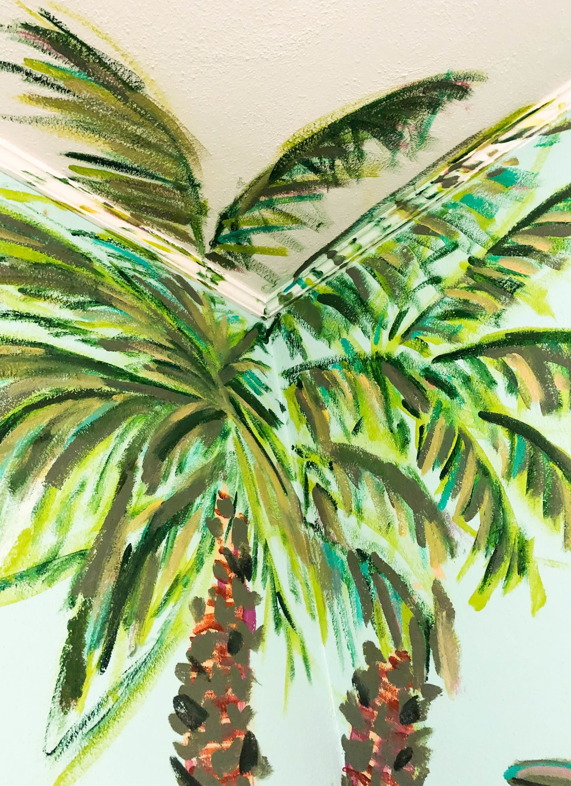 Murals by Rachel Elizabeth Design seen at Private Residence, Pensacola - Palm Jungle Mural