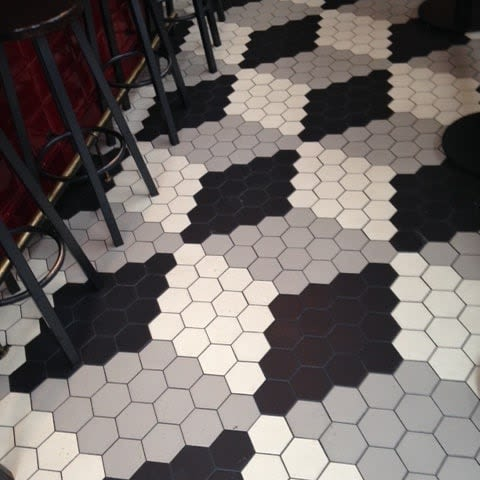 Black white gray patter hexagon tile