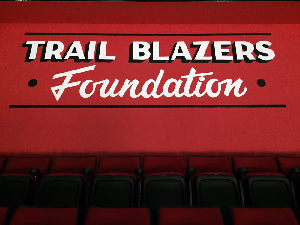 Signage by J&S Signs seen at Moda Center, Portland - Portland Trail Blazers