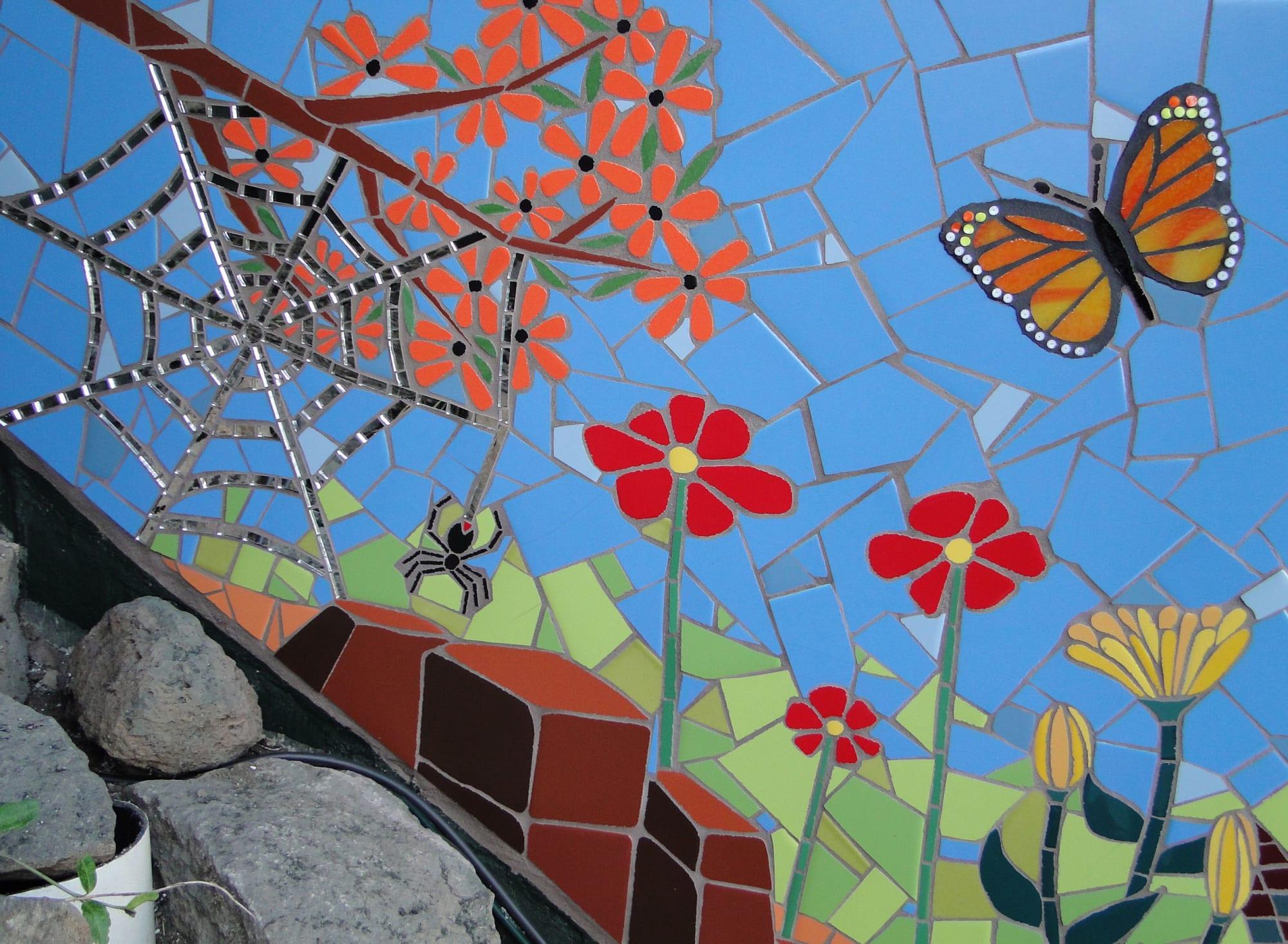Murals by Rochelle Rose Schueler - Wild Rose Artworks LLC seen at Private Residence, Bend - Eternal Spring - exterior tile mosaic wall mural