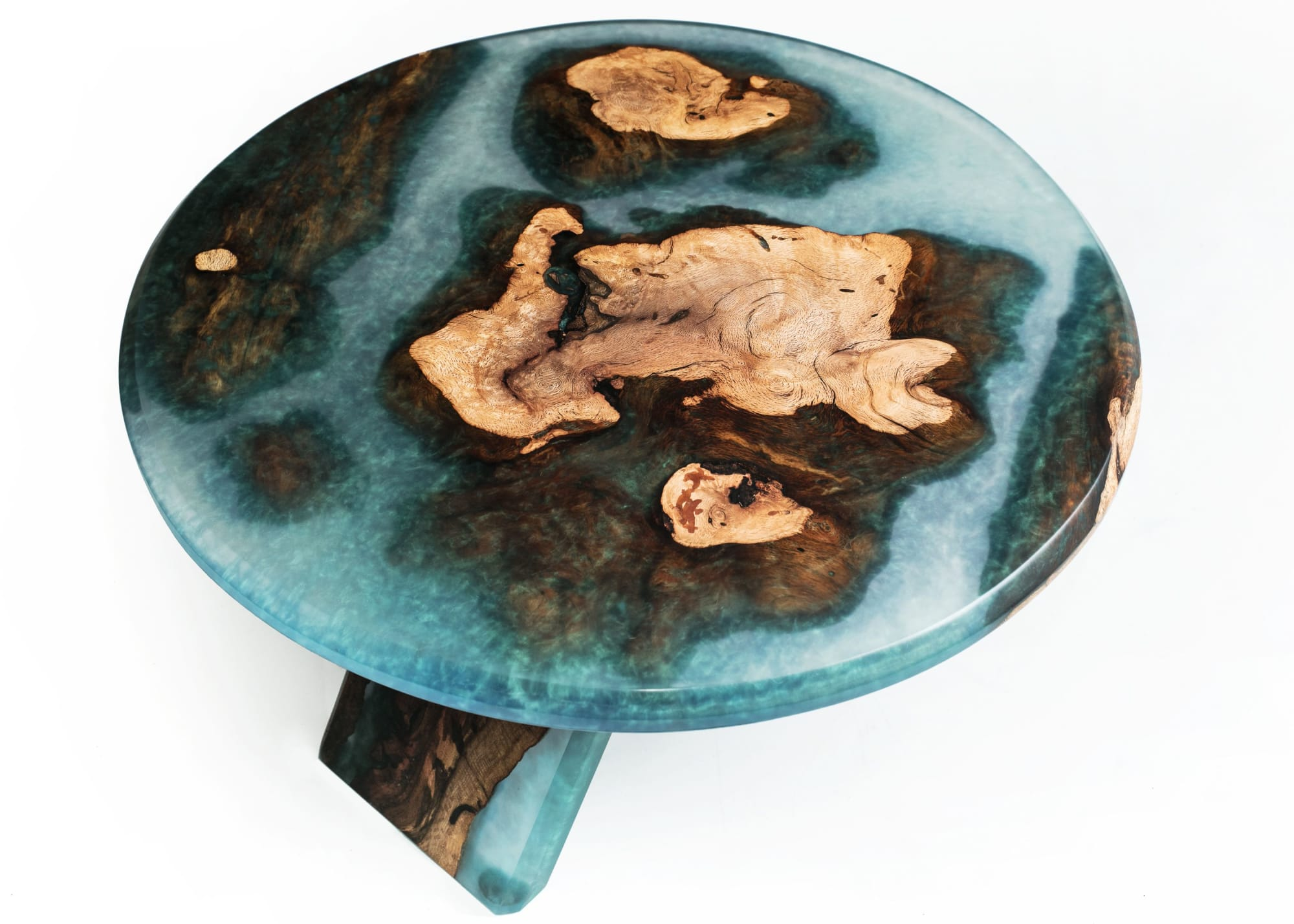 """Tables by Lumberlust Designs seen at Private Residence, Scottsdale - Black Cherry Burl Islands Blue/Green Resin Art 30"""" Coffee Table"""