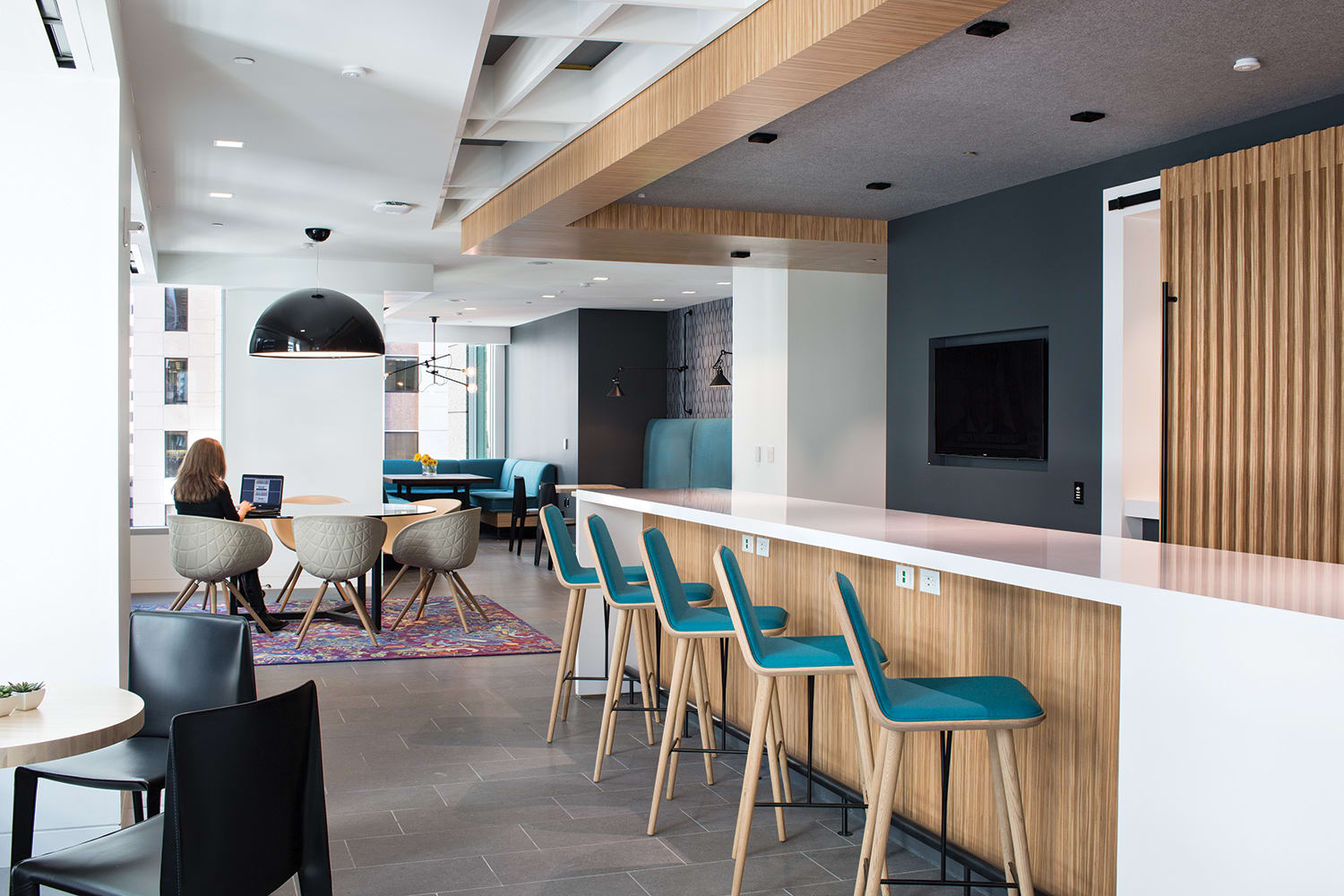 "Rugs by Emma Gardner Design, LLC at KPMG, San Francisco - Custom ""edgy Victorian"""