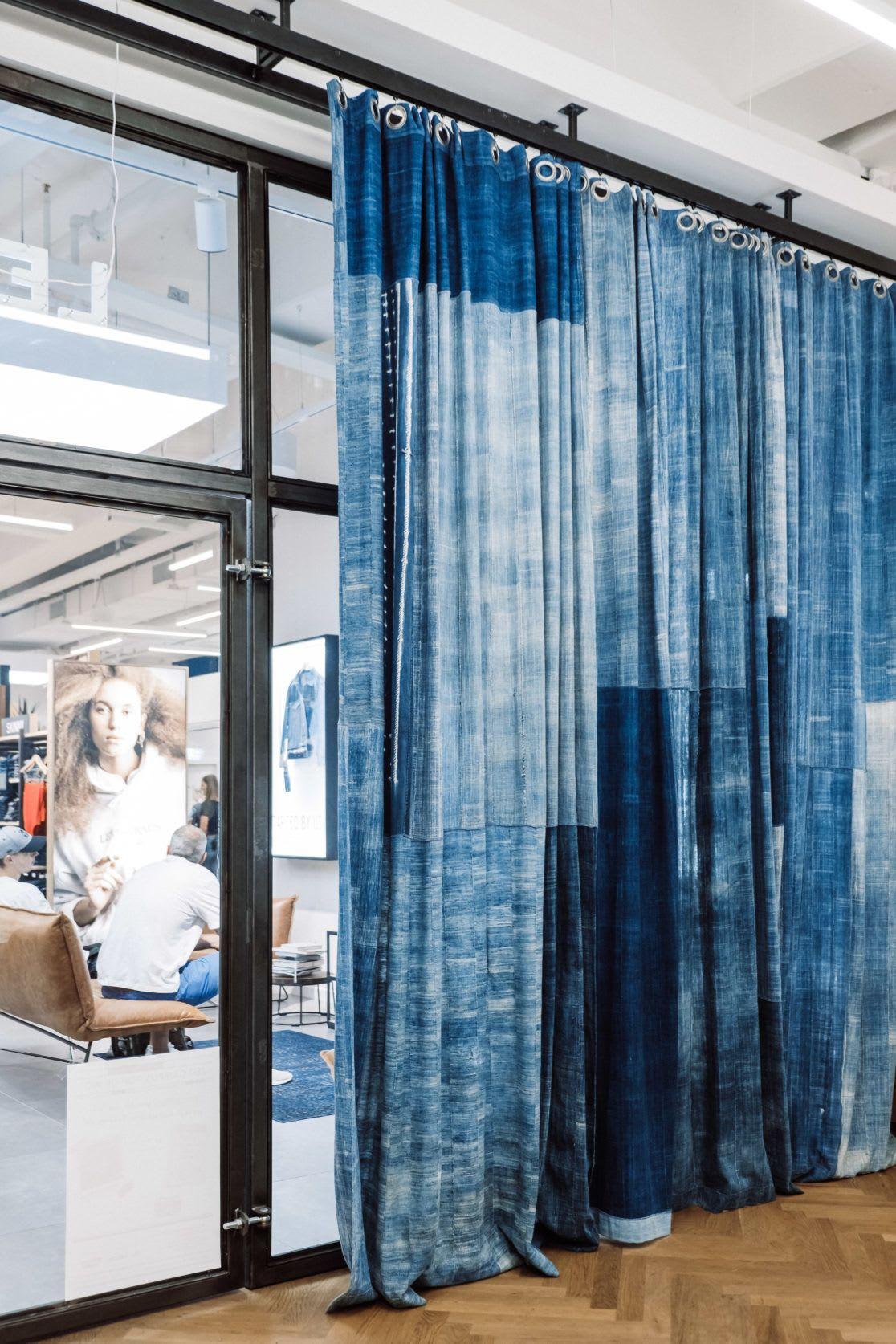 Curtains & Drapes by Blue Print Amsterdam seen at Levi's® Ehrenstraße, Köln - Indigo Patchwork Curtains