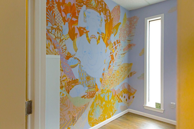 Murals by Emily Herr (HerrSuite) seen at Be Here Now Yoga Healing & Wellness, Washington - BHNY Ganesha