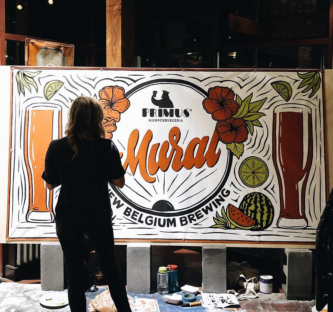 Murals by Adam Vicarel seen at New Belgium Brewing Company, Fort Collins - New Belgium Brewing - Live Painting