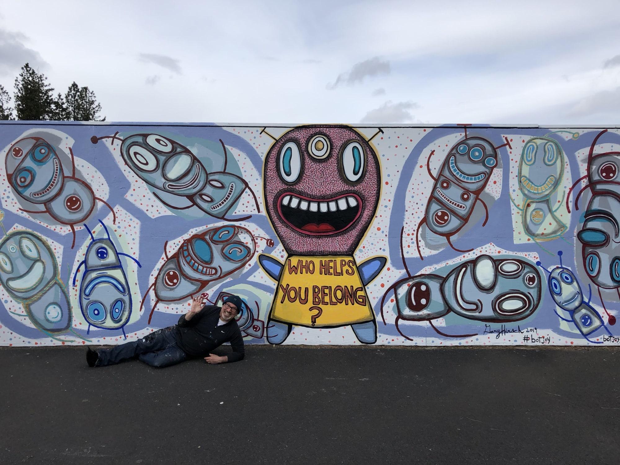 Murals by Gary Hirsch (botjoy) seen at Sisters, Sisters - Belonging Mural