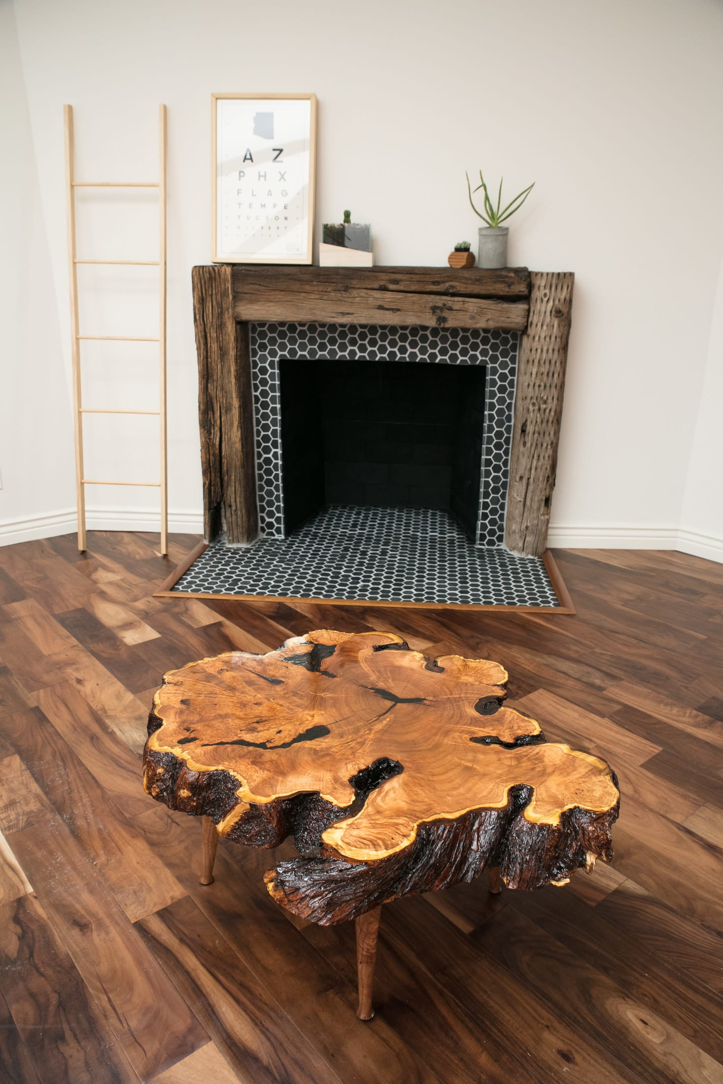 Organic Live Edge Coffee Table in Natural Finish