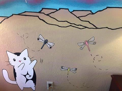 "Murals by Amanda Beardsley seen at Nativo Lodge, Albuquerque - ""Across The Universe"""