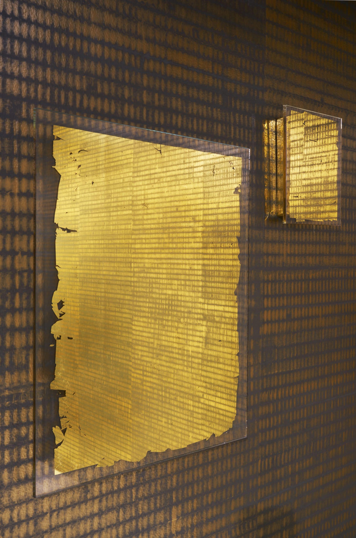 Wallpaper by Callidus Guild seen at Collective Design Fair, New York - WP-1830 Gratitude - Emerald & Gold