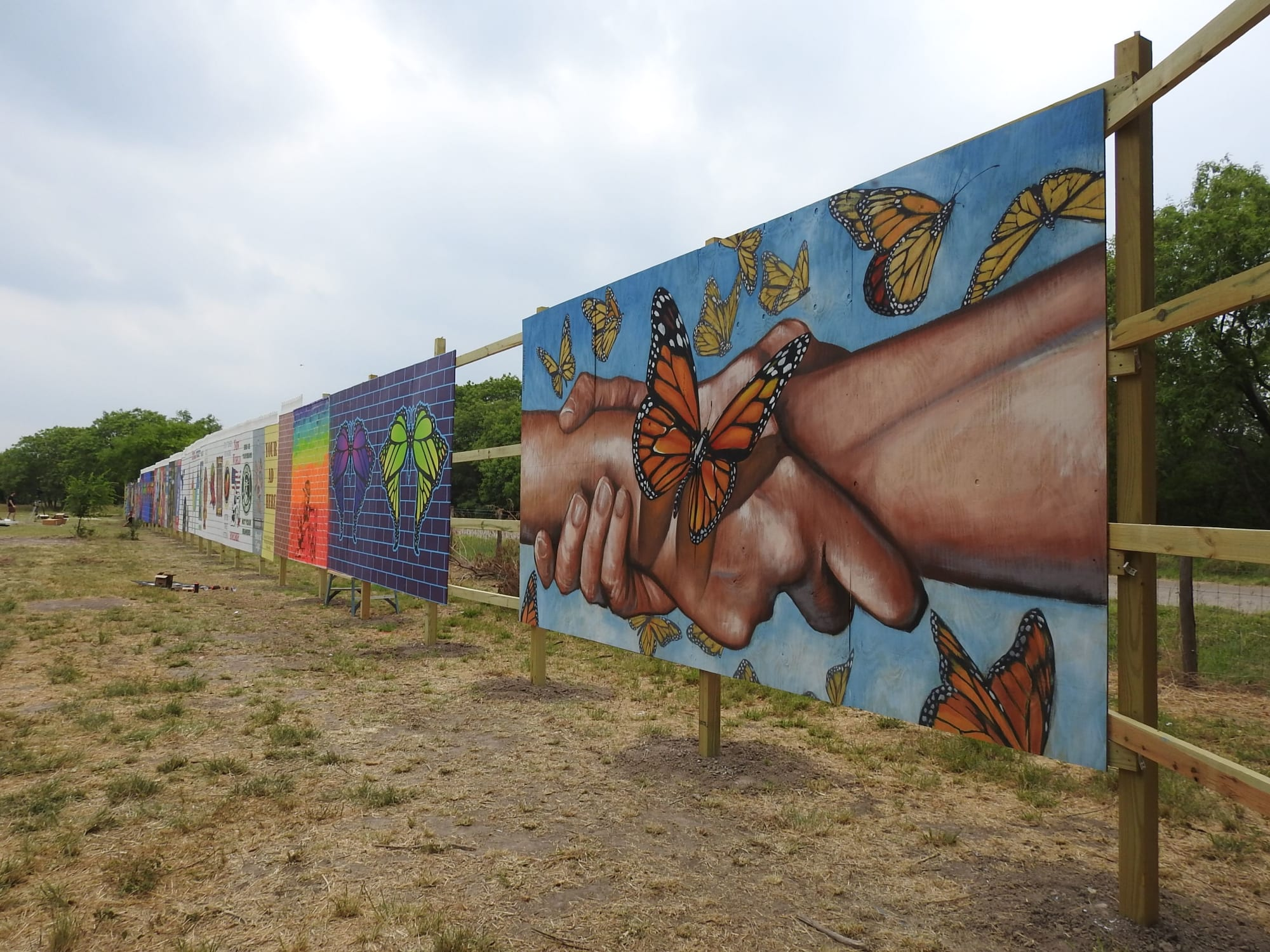 Street Murals by Anat Ronen seen at National Butterfly Center, Mission - Humanity