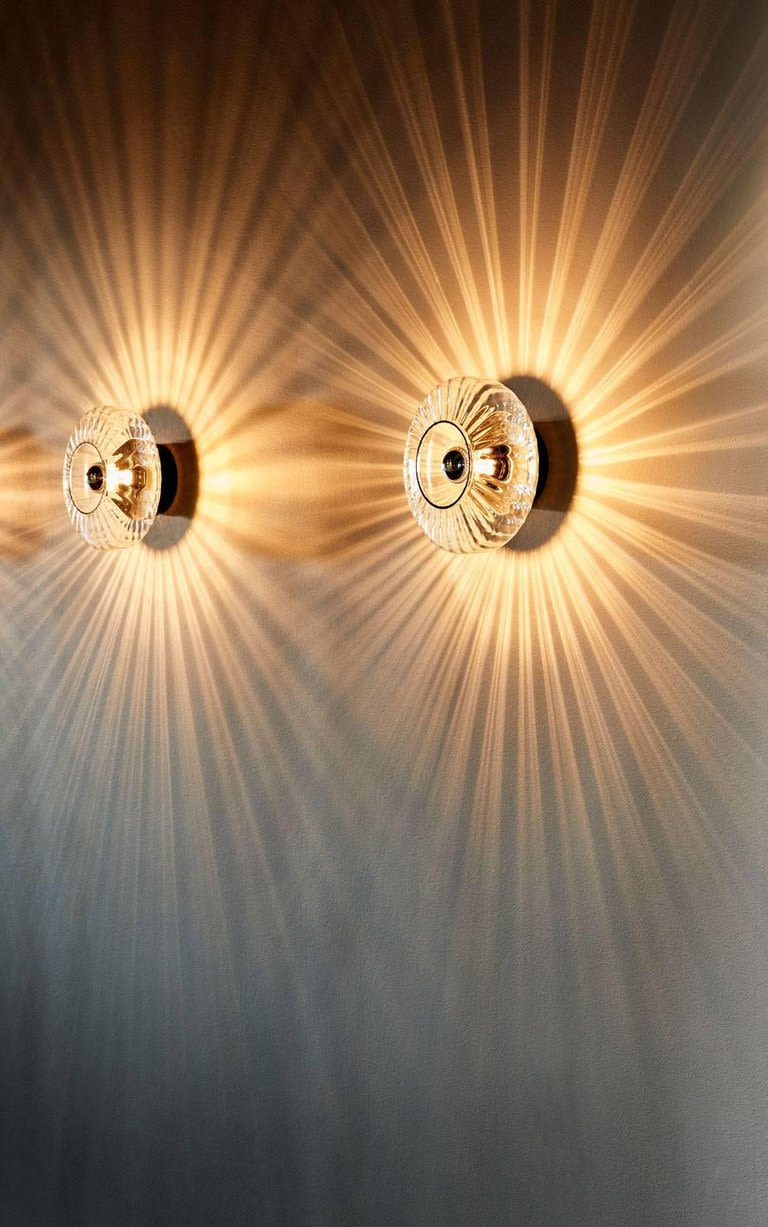 Sconces by Marie Burgos Design seen at Private Residence, New York - NEW WAVE OPTIC WALL LIGHT LAMP SCONCE
