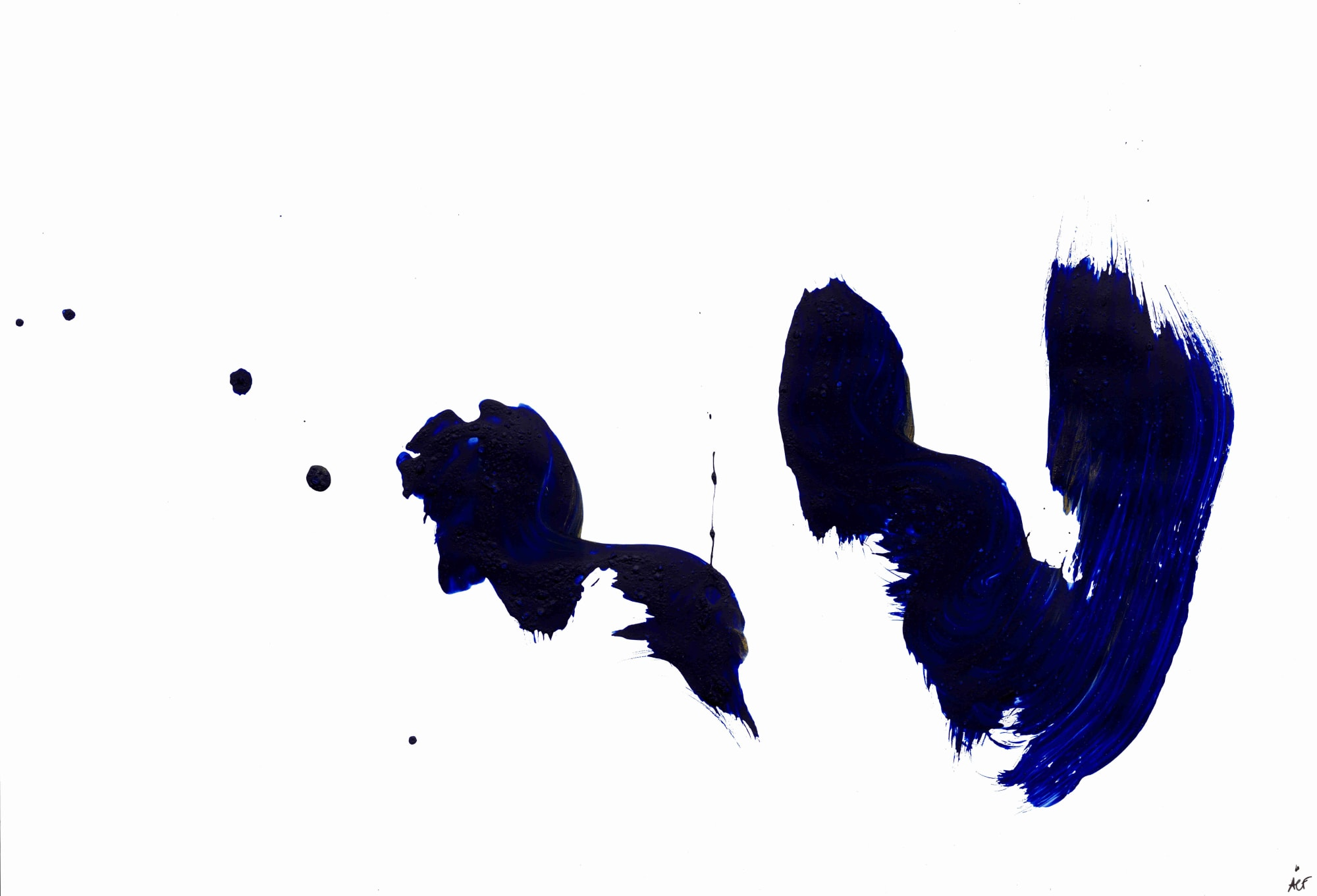 Spontaneous Blue Abstract Minimal Painting